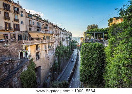 Streets Of Sorrento, Popular Resort In The Bay Of Naples, Southern Italy
