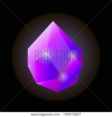 Bright shiny uncut violet crystal that emanates light in darkness isolated vector illustration on black background. Beautiful natural fossil that used in jewelry to make gorgeous accessories.