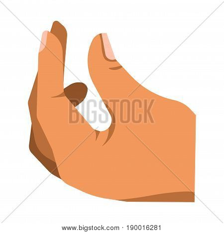 Cartoon human palm in zoomed perspective turned up like it holds something small with three fingers isolated flat vector illustration on white background. Drawn hand collected in simple gesture.