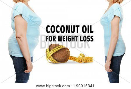 Mature woman's body before and after weightloss on white background. Coconut oil benefits