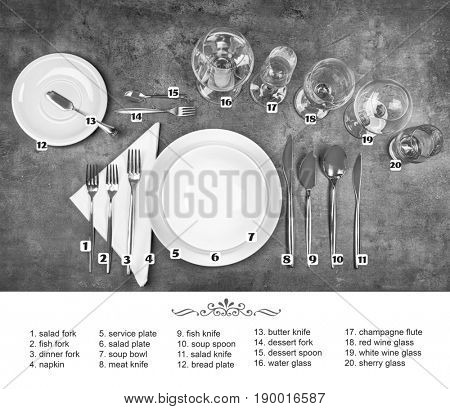 Arrangement of dishware and cutlery on gray background. Table setting rules and etiquette
