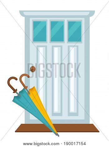 Front white house door with three small windows, brown threshold, blue and yellow long umbrellas on it. Vector poster of entrance to building in classic design. Equipments for hallway interior