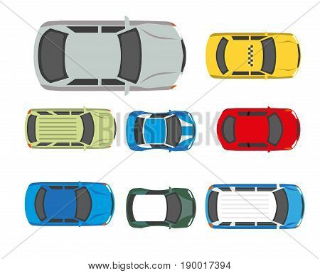 Cars transport or automobile vehicles roof or top view. Vector flat isolated icons of passenger car sedan or sport coupe wagon, pickup or hatchback crossover and van
