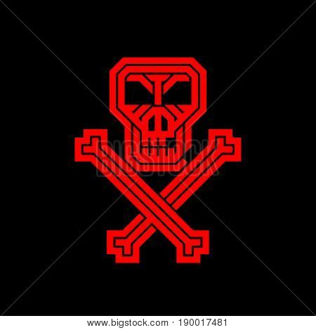 Pirate skull and bones. Abstract creative logo for the corporate identity of the company. A poster, poster, leaflet for a Halloween party,  zombie party or music concert with skulls, emblem, icon, label. Element of design.
