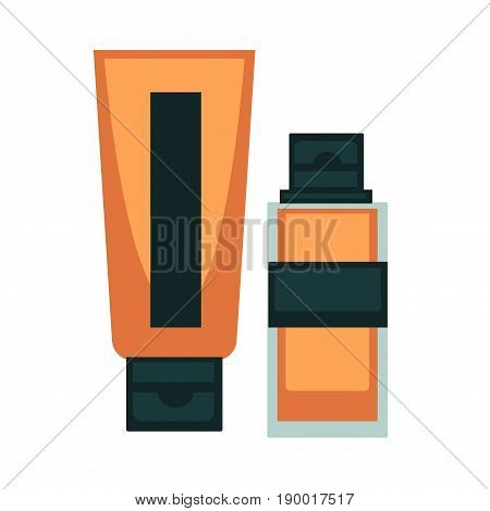 Tonal BB cream or tone CC moisturizer in tube or bottle. Woman makeup cosmetics vector isolated flat icons for fashion cosmetic product design or beauty salon
