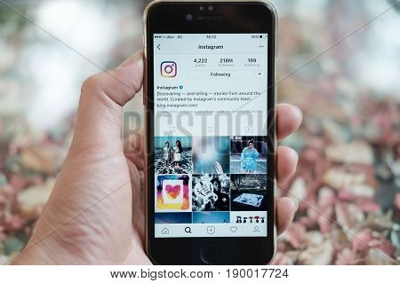 CHIANG MAI THAILAND - MARCH 312017: A women holds Apple iPhone 6S with Instagram application on the screen. Instagram is a photo-sharing app for smartphones.