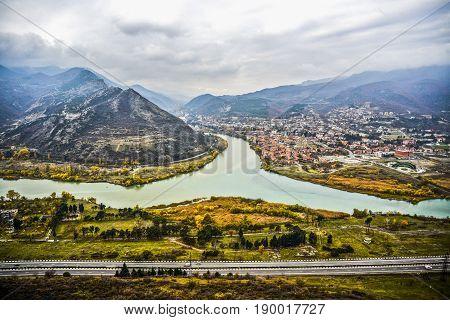 A view on a river in Mtskheta Georgia.
