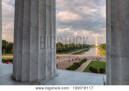 Sunset from Lincoln Memorial with Washington Monument