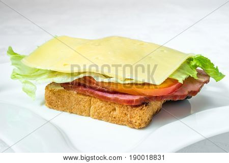 Delicious Fast Food. Sandwich With Bacon, Cucumber, Cheese And Herbs. Horizontal Frame