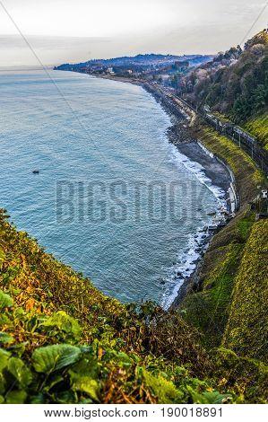 Coast in Georgi Batumi black sea with beautiful view.