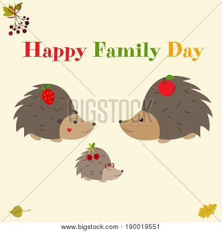 Family day greeting card with cute hedgehogs