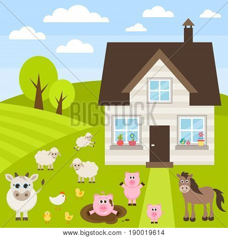 farm illustration with different cute animals and house