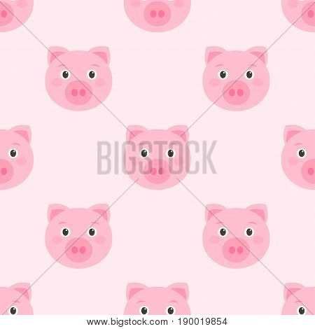 Seamless pattern with cute pink pig faces