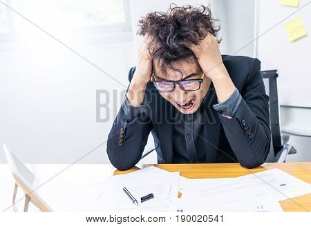 busy and crazy person unsuccessful businessman in office