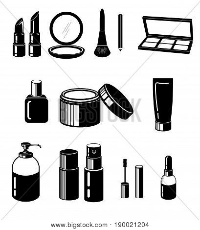 Black color vector of Cosmetic set for make an  artwork