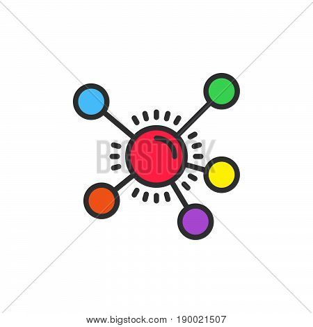 Mind map filled outline icon vector sign colorful illustration