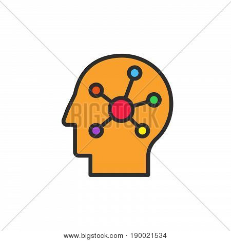 Mind map in a head filled outline icon vector sign colorful illustration