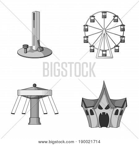 The device with a bat for measuring strength, a ferris wheel, a carousel, a house with windows. Amusement park set collection icons in monochrome style vector symbol stock illustration .
