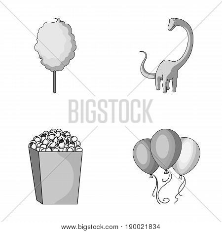 Sweet cotton wool on a stick, a toy dragon, popcorn in a box, colorful balloons on a string. Amusement park set collection icons in monochrome style vector symbol stock illustration .