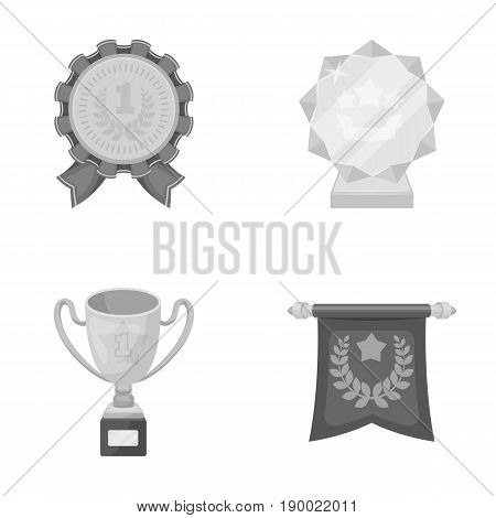 An Olympic medal for the first place, a crystal ball, a gold cup on a stand, a red pendant.Awards and trophies set collection icons in monochrome style vector symbol stock illustration .