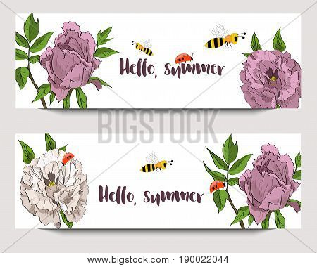 Hand Drawn Banners With White And Rosy Peonies, Funny Bees And Ladybirds. Sketch Style. Hello, Summe