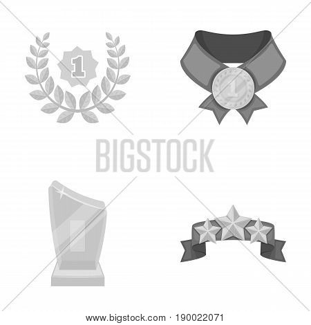Winner for the first place in the competition, a crystal prize, a ribbon with the stars, a medal on the red ribbon.Awards and trophies set collection icons in monochrome style vector symbol stock illustration .