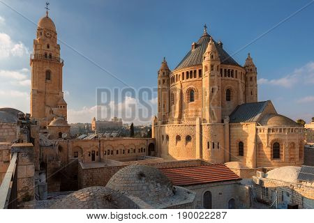 View of the Dormition Abbey from the wall of the Old City of Jerusalem, Israel