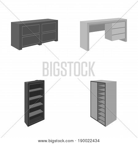 Wardrobe with mirror, wardrobe, shelving with mezzanines. Bedroom furniture set collection icons in monocrome style vector symbol stock illustration .