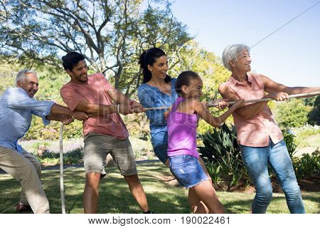 Smiling family playing tug of war in the park