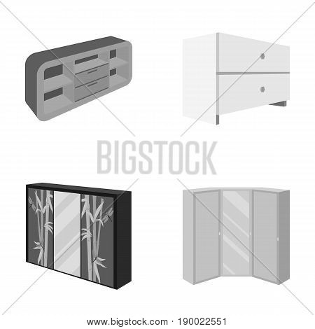 Chest of drawers, wardrobe with mirror, corner cabinet, white chest. Bedroom furniture set collection icons in monocrome style vector symbol stock illustration .