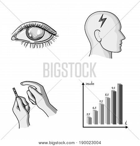 Poor vision, headache, glucose test, insulin dependence. Diabetic set collection icons in monochrome style vector symbol stock illustration .