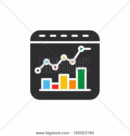 Bar and line combo chart colorful icon vector flat sign. Symbol logo illustration