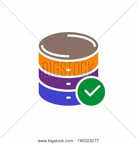 Database with check mark colorful icon vector flat sign. Symbol logo illustration