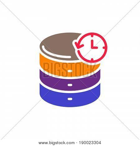 Database backup colorful icon vector flat sign. Symbol logo illustration