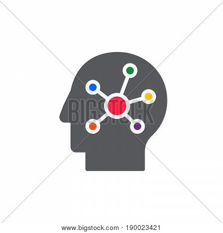 Mind map in a head colorful icon vector flat sign. Symbol logo illustration