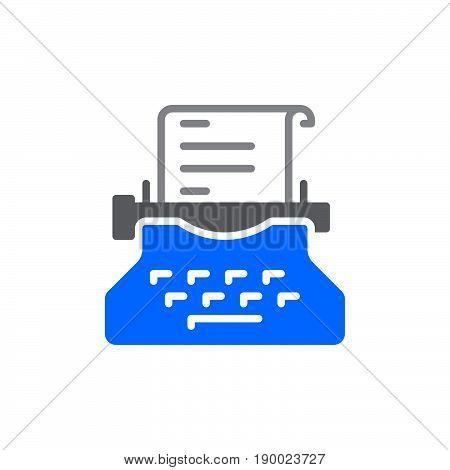 Typewriter colorful icon vector flat sign. Copywriting symbol logo illustration