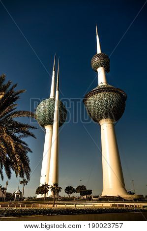 Exterior view to fresh water reservoir aka Kuwait Towers in Kuwait