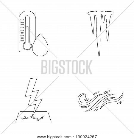 Humidity, icicles, thunderbolt, windy weather. Weather set collection icons in outline style vector symbol stock illustration .