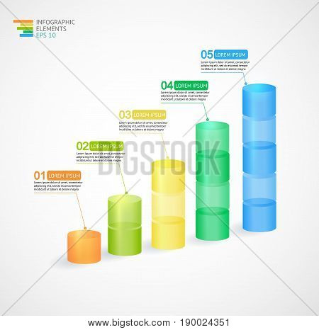 Transparent multicolor rising graph- digital infographic. Vector illustration