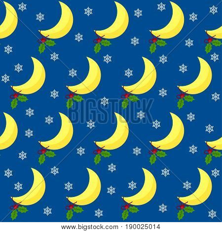 Moon Seamless Pattern Background. New Year And Christmas Time Theme.