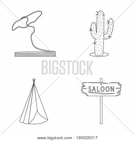 Lasso, cactus, wigwam, saloon index. Wild West set collection icons in outline style vector symbol stock illustration .