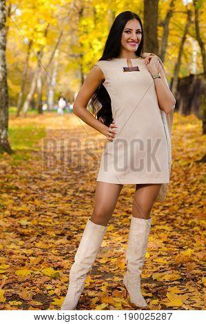 elegant woman on background of autumn park