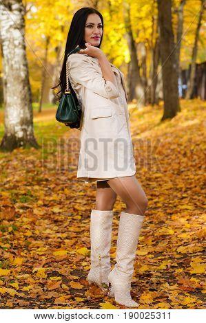 beautiful brunette with handbag on autumn park