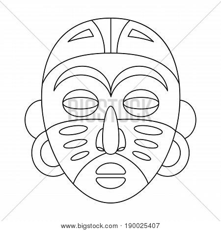 African tribal mask.African safari single icon in outline style vector symbol stock illustration .