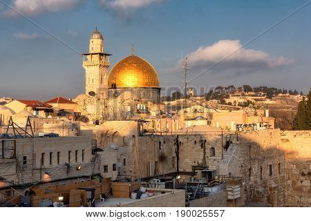 Temple Mount and golden Dome of the Rock in Jerusalem Old City, Israel.