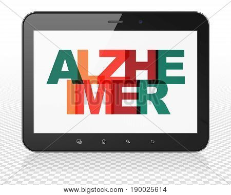 Healthcare concept: Tablet Pc Computer with Painted multicolor text Alzheimer on display, 3D rendering