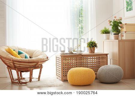 Modern veranda with beautiful cozy furniture