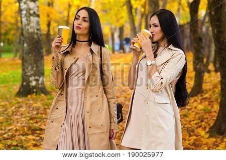 brunette girlfriends drinking coffee autumn park outdoors