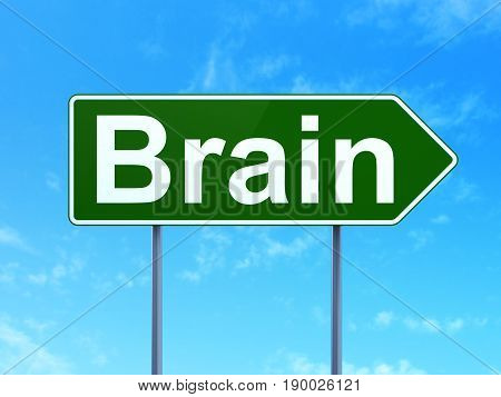 Medicine concept: Brain on green road highway sign, clear blue sky background, 3D rendering