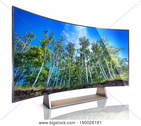 3D rendering of an wide angle curved TV